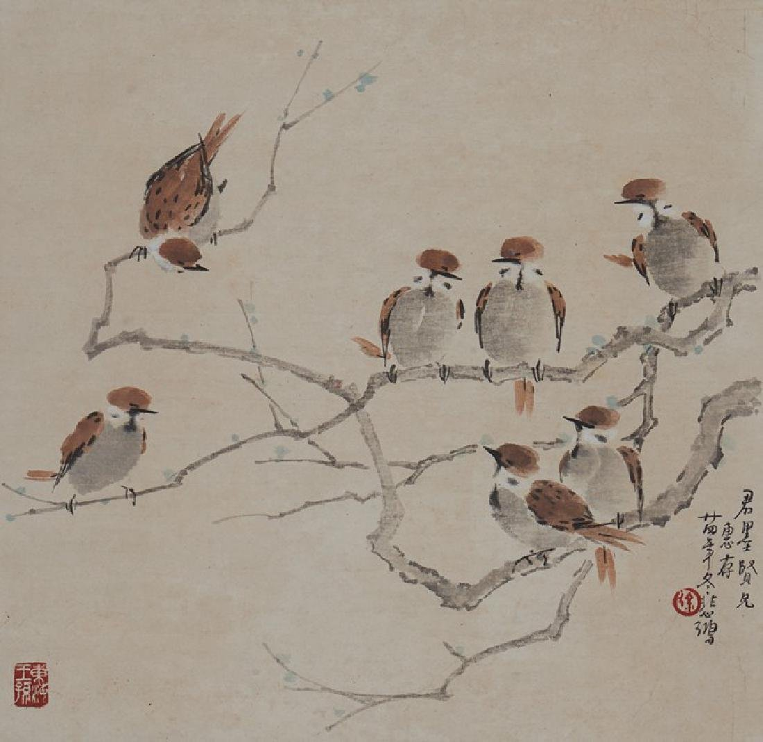 XU BEIHONG: COLOR AND INK ON PAPER 'BIRDS PAINTING