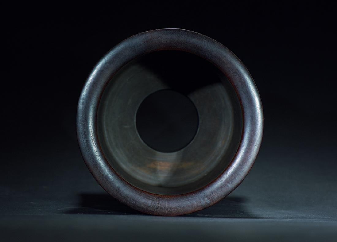 A HONGMU CARVED FIGURES BRUSH POT - 3