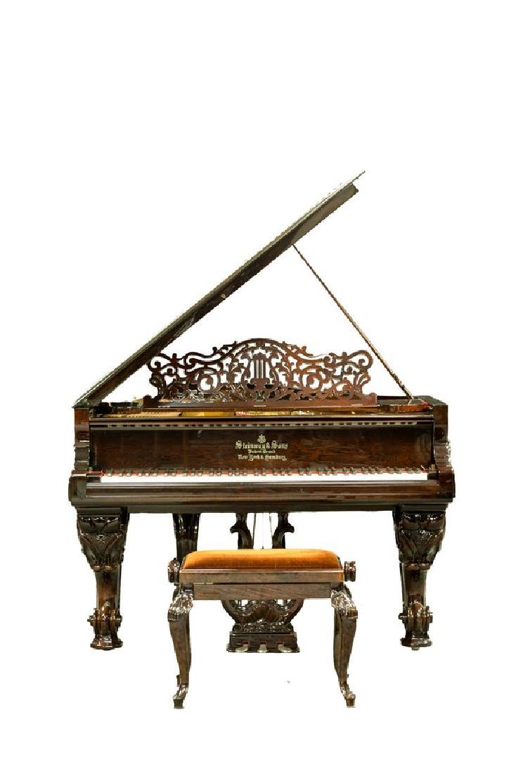STEINWAY & SONS MODEL C ROSEWOOD CONCERT GRAND PIANO - 2