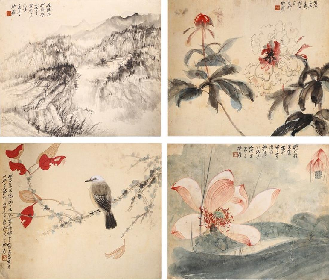 ZHANG DAQIAN: COLOR AND INK ON PAPER FOUR LEAF ALBUM