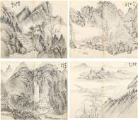 GONG XIAN ALBUM OF INK ON PAPER LANDSCAPE PAINTINGS