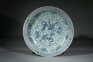 A BLUE AND WHITE 'BUDDHIST LIONS' CHARGER
