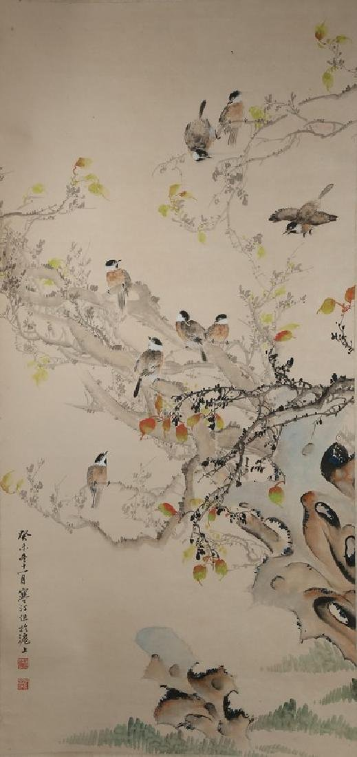 JIANG HANDING: INK AND COLOR ON PAPER 'BIRDS' PAINTING