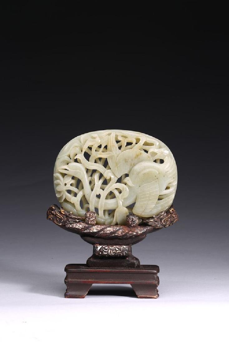 A WHITE JADE OPENWORK 'GOOSE' PLAQUE WITH STAND