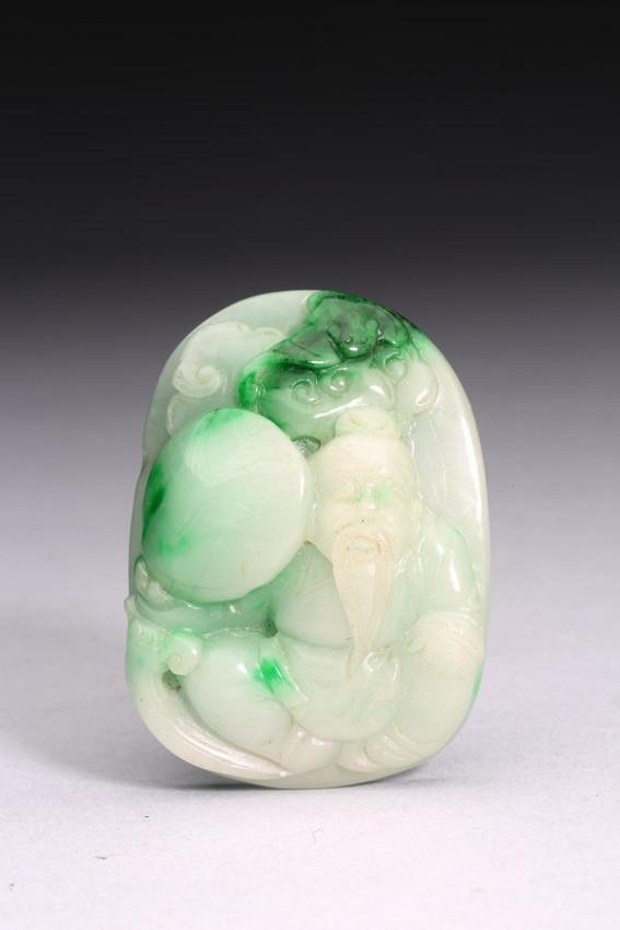 A JADEITE CARVED 'IMMORTALS' PENDANT
