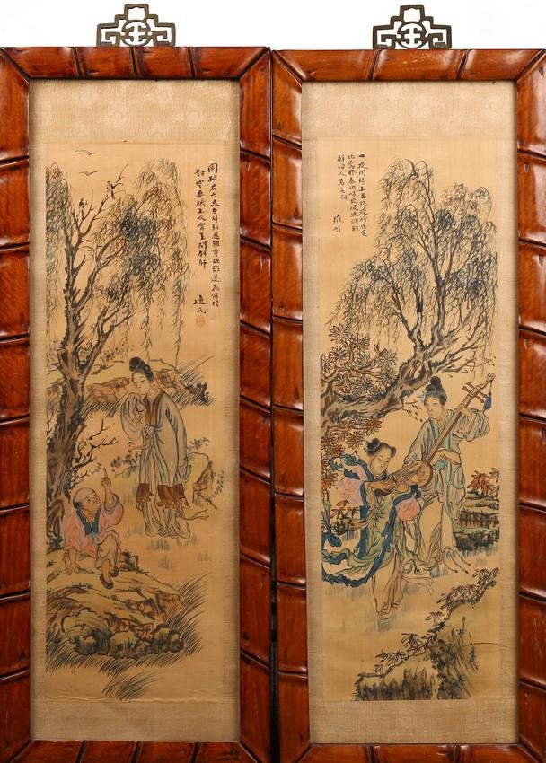 A PAIR OF COLOR AND INK ON SILK PAINTINGS WITH FRAME