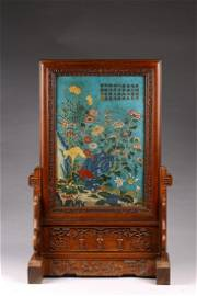 A CHINESE CLOISONNE ENAMEL IMPERIAL POEM TABLE SCREEN