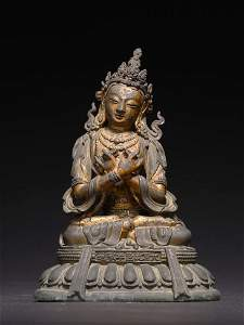 AN IMPERIAL CHINESE GILT BRONZE FIGURE OF VAJRADHARA