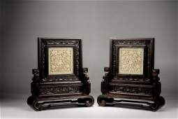 A PAIR OF ZITAN CARVED WHITE JADE INSET TABLE SCREENS