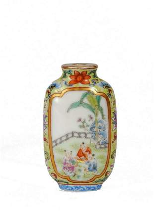 A CHINESE FAMILLE ROSE 'BOYS' AND IMPERIAL POEM SNUFF