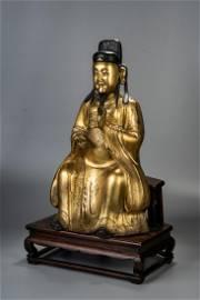 LARGE CHINESE GILT BRONZE FIGURE 'TAOIST GOD OF WEALTH'
