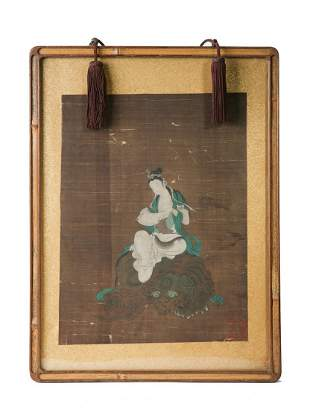 COLOR AND INK ON SILK 'SAMANTABHADRA' FRAMED PAINTING