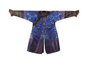 A CHINESE BLUE GROUND SUMMER GAUZE COURT ROBE