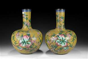 A PAIR OF LARGE CLOISONNE ENAMEL 'PEACH' VASES