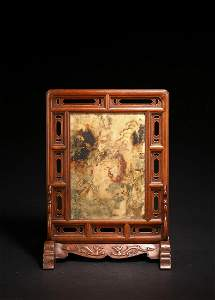 A HUANGHUALI DREAMSTONE PAINTED 'EIGHT IMMORTALS' TABLE