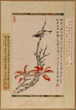 A COLOR AND INK 'BIRD' PAINTING IN MANNER OF DAQIAN