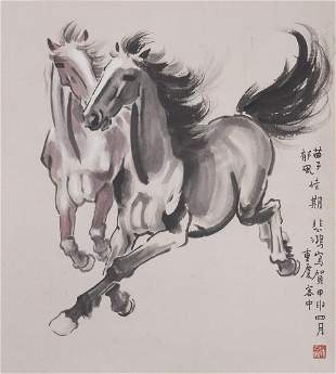 A COLOR AND INK ON PAPER 'HORSES' PAINTING, XU BEIHONG