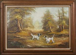 A FOREST AND DOGS SCENERY PAINTING