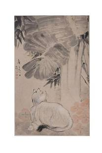 ANONYMOUS: CHINESE COLOR AND INK 'CAT' SCROLL PAINTING