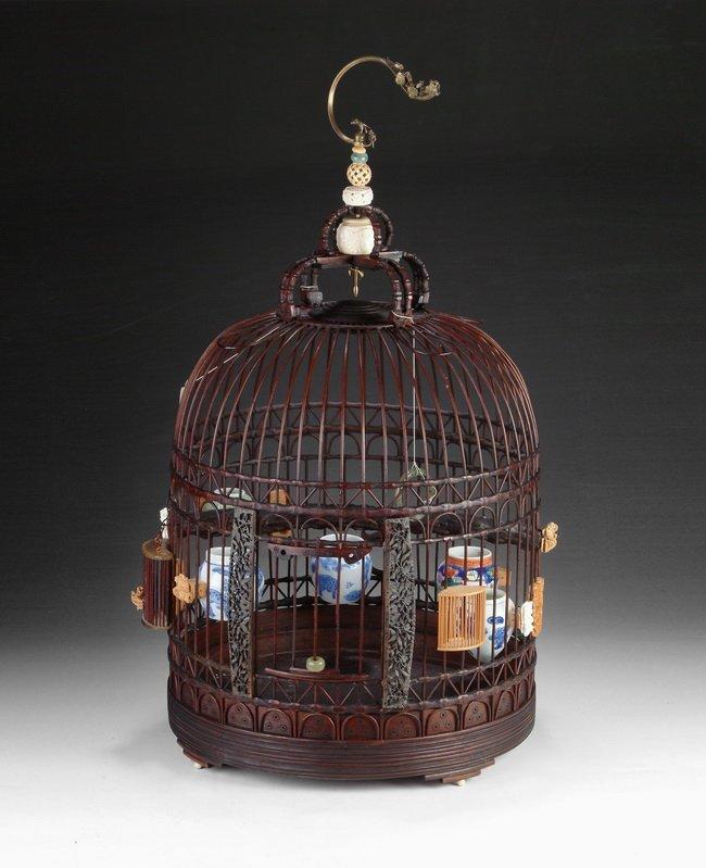 6: A CHINESE CIRCULAR BAMBOO BIRD CAGE