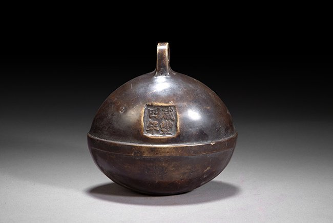 3: A CHINESE BRONZE SHELL BELL