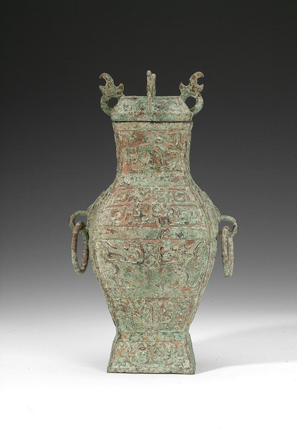 12: A CHINESE ANCIENT BRONZE LIDDED JAR