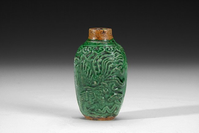 19: A CHINESE GLAZED SNUFF BOTTLE