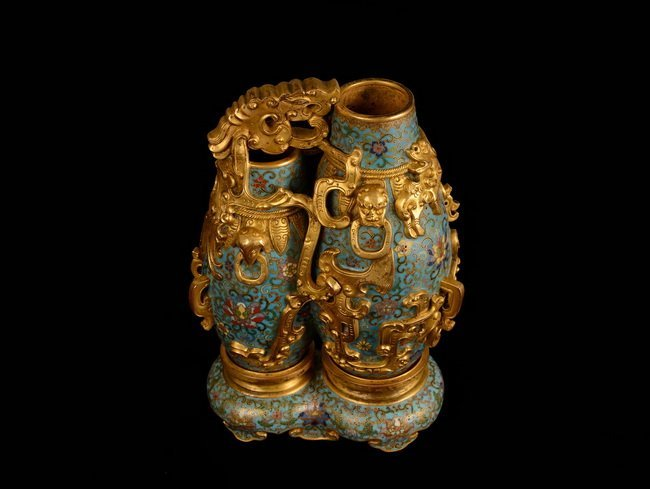 A SET OF CLOISONNE DOUBLE BOTTLE - 2