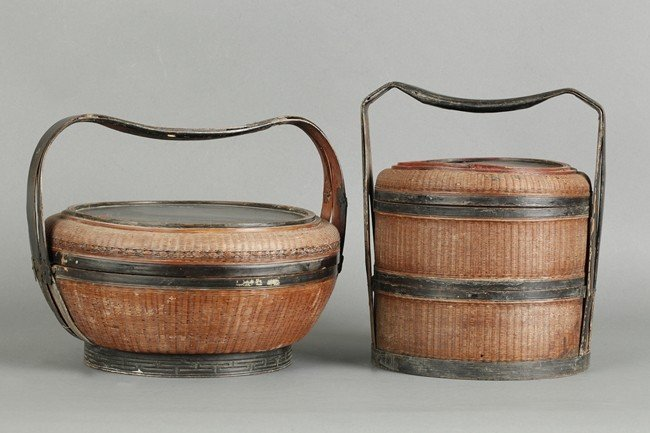 TWO CHINESE BAMBOO BASKETS