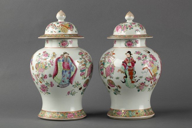A PAIR OF FAMILLE ROSE BALUSTER JARS AND COVERS