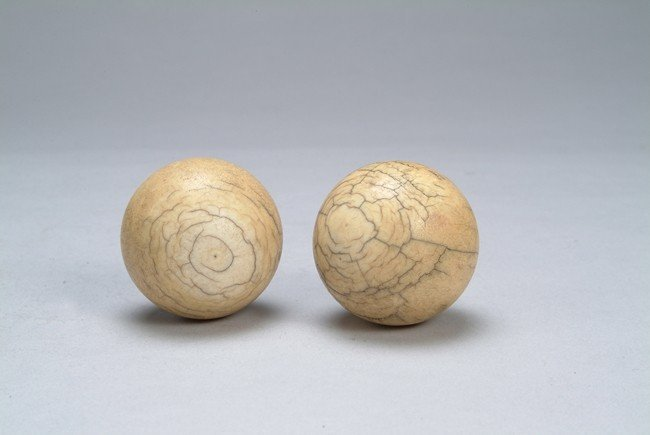 TWO (2) IVORY FITNESS BALLS