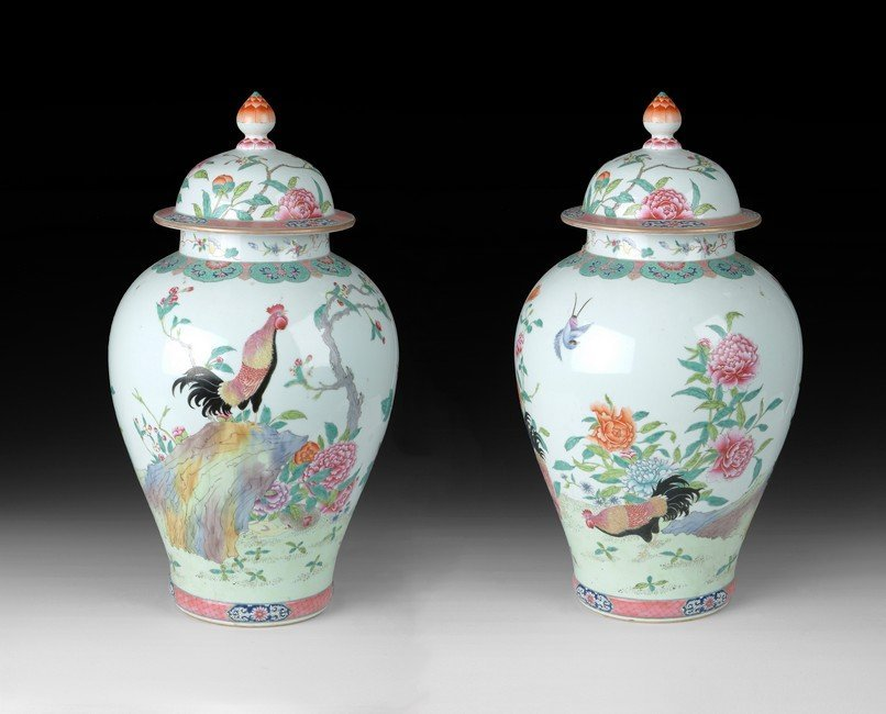 A PAIR OF DOUCAI JARS WITH COVER
