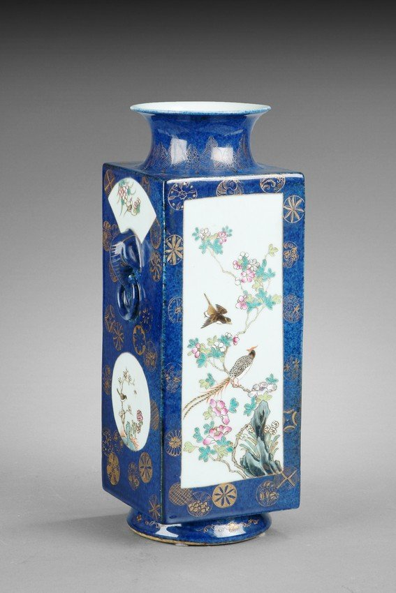 A FAMILLE ROSE AND GILT DECORATED RECTANGULAR VASE