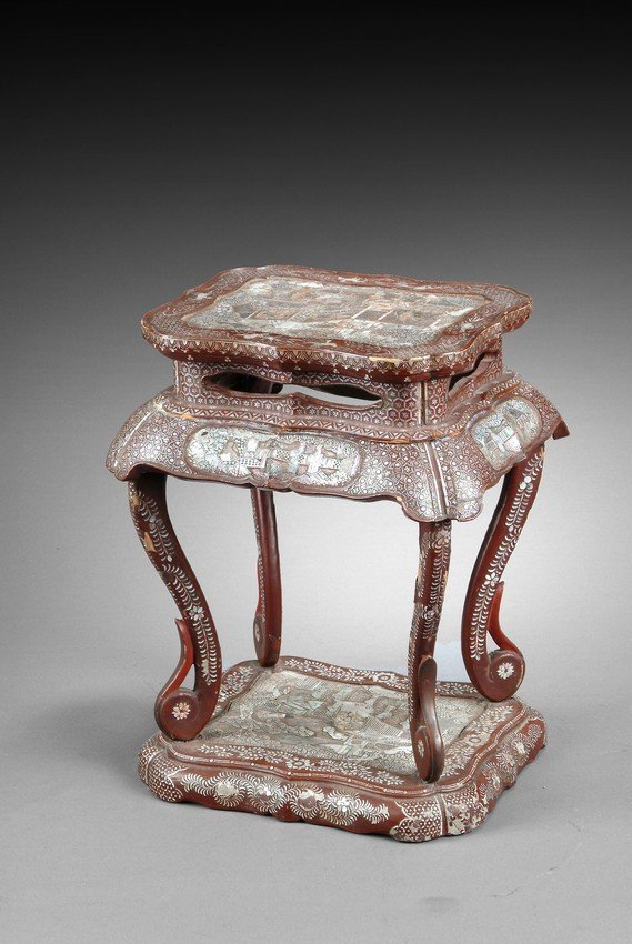 A MOTHER OF PEARL DECORATED LACQUER STAND