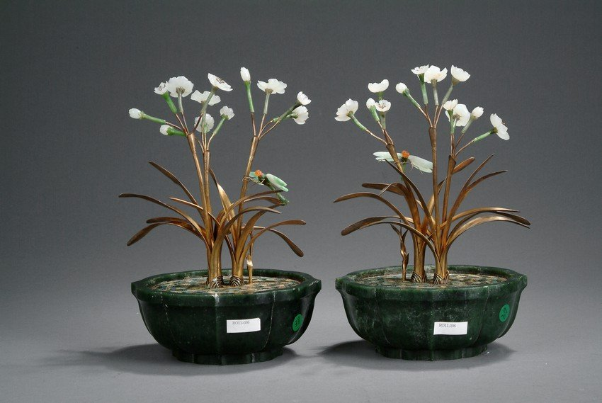 A PAIR OF JADE AND CLOISONNE ORCHID PLANTERS - 10