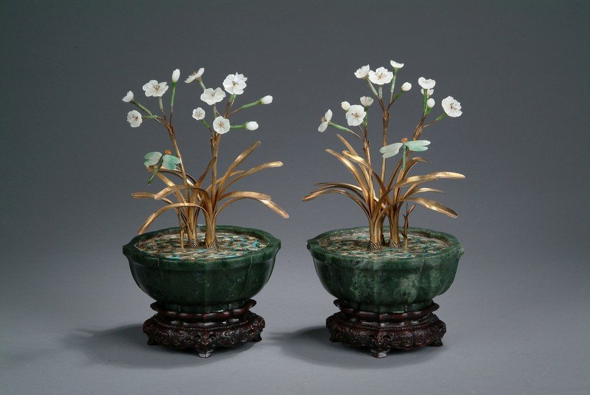 A PAIR OF JADE AND CLOISONNE ORCHID PLANTERS