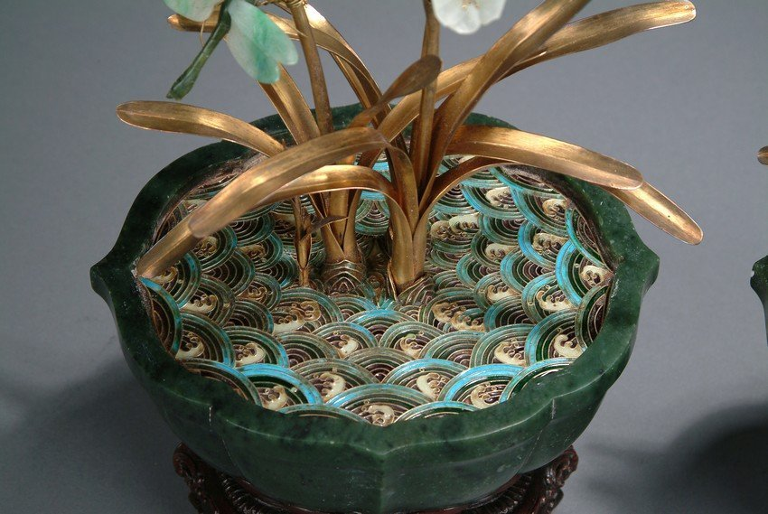 A PAIR OF JADE AND CLOISONNE ORCHID PLANTERS - 5