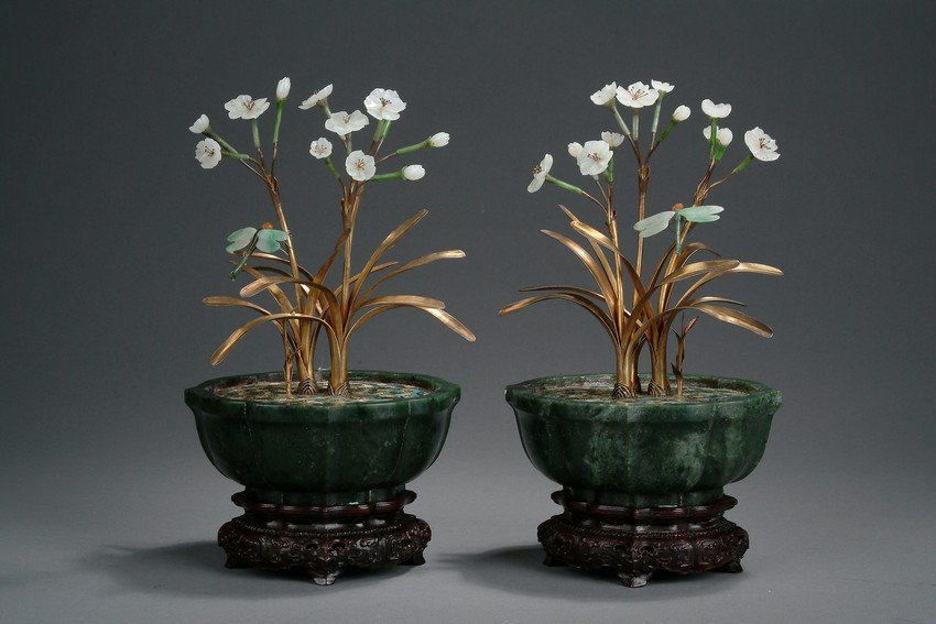 A PAIR OF JADE AND CLOISONNE ORCHID PLANTERS - 6