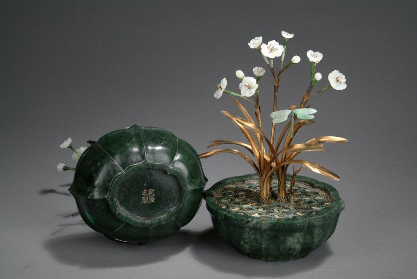A PAIR OF JADE AND CLOISONNE ORCHID PLANTERS - 7