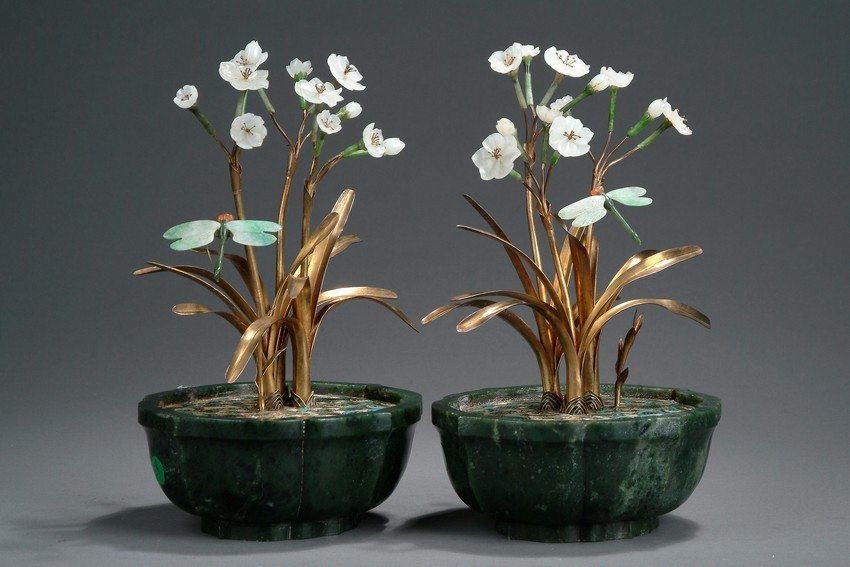 A PAIR OF JADE AND CLOISONNE ORCHID PLANTERS - 9