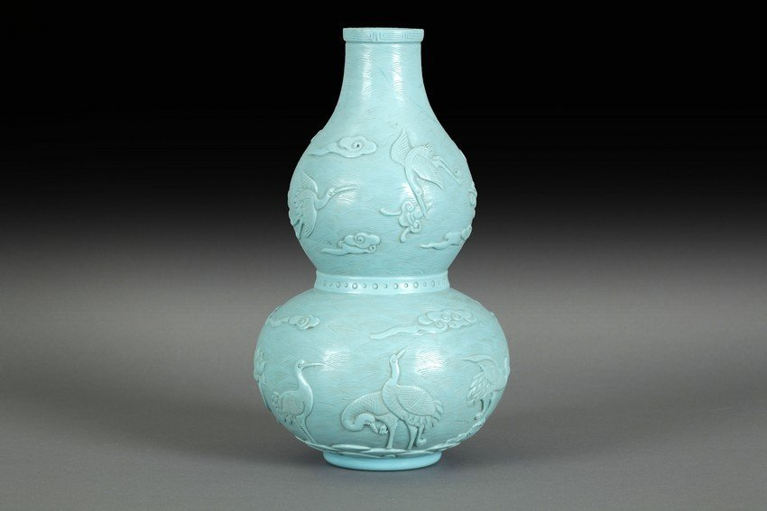 A TEAL GLASS GOURD FORM BOTTLE