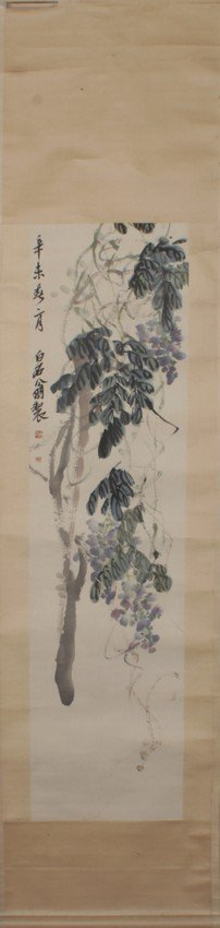 Qi Baishi: ink and color on paper 'Wisteria'