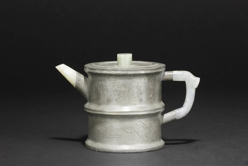 YANG PENGNIAN: A PEWTER-ENCASED YIXING TEAPOT AND COVER