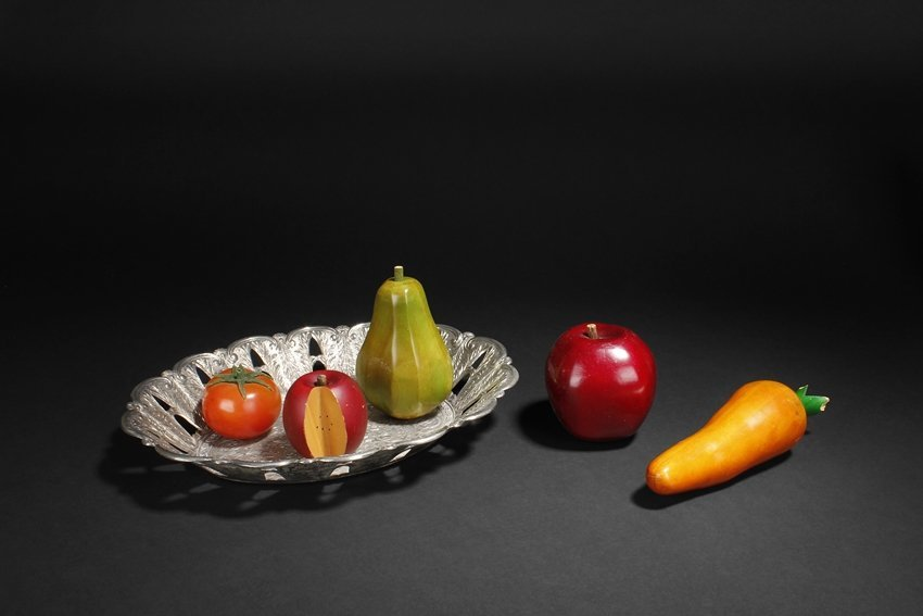 A SET OF CARVED WOODEN FRUITS AND VEGETABLES
