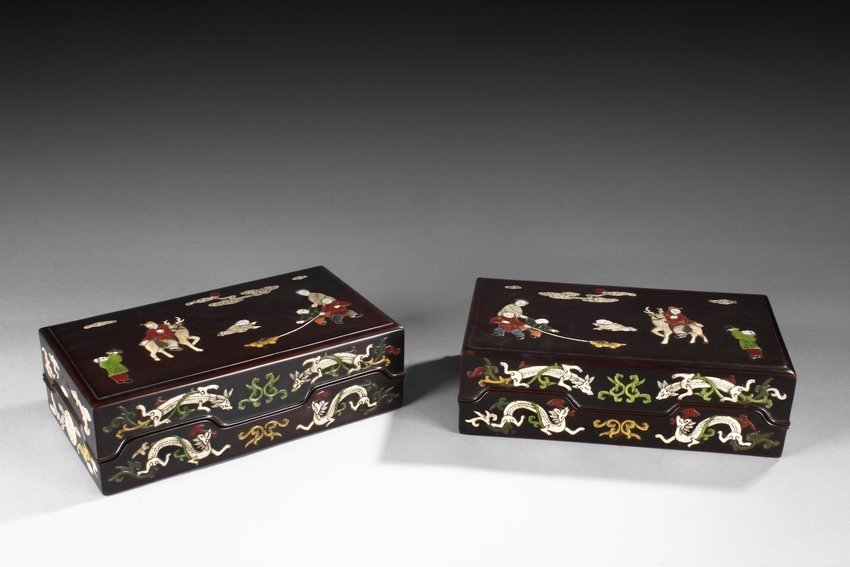 A PAIR OF APPLIQUE HARDWOOD BOXES
