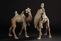 A SET OF TWO SANCAI POTTERY CAMEL AND FIGURES