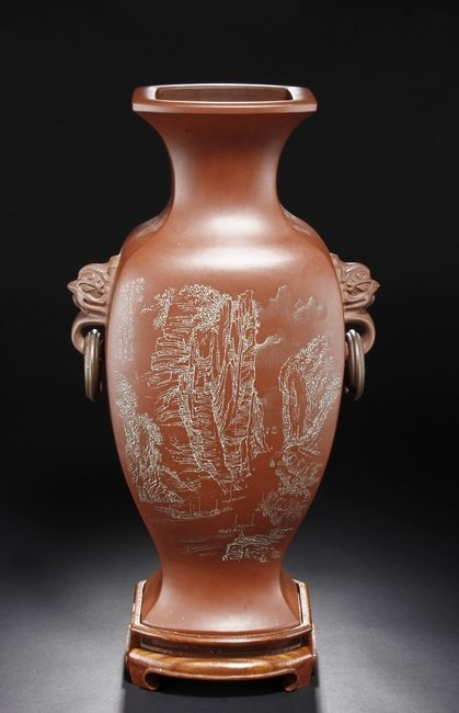 GU SHAOPEI: A YIXING VASE WITH LION RING HANDLES