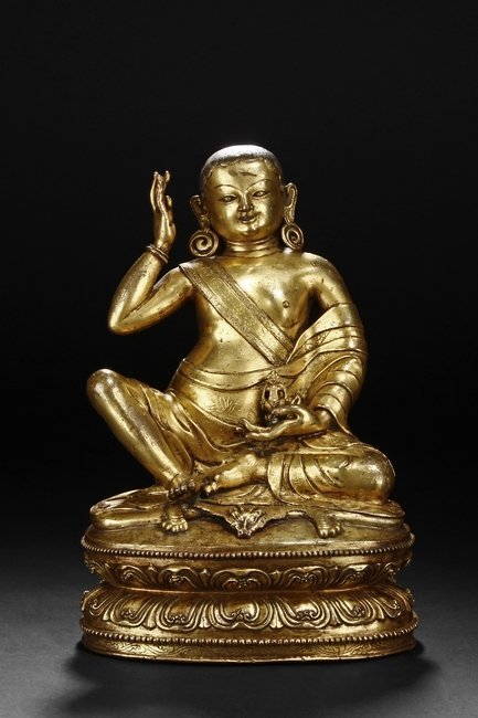 AN IMPORTANT GILT-BRONZE FIGURE OF MILAREPA