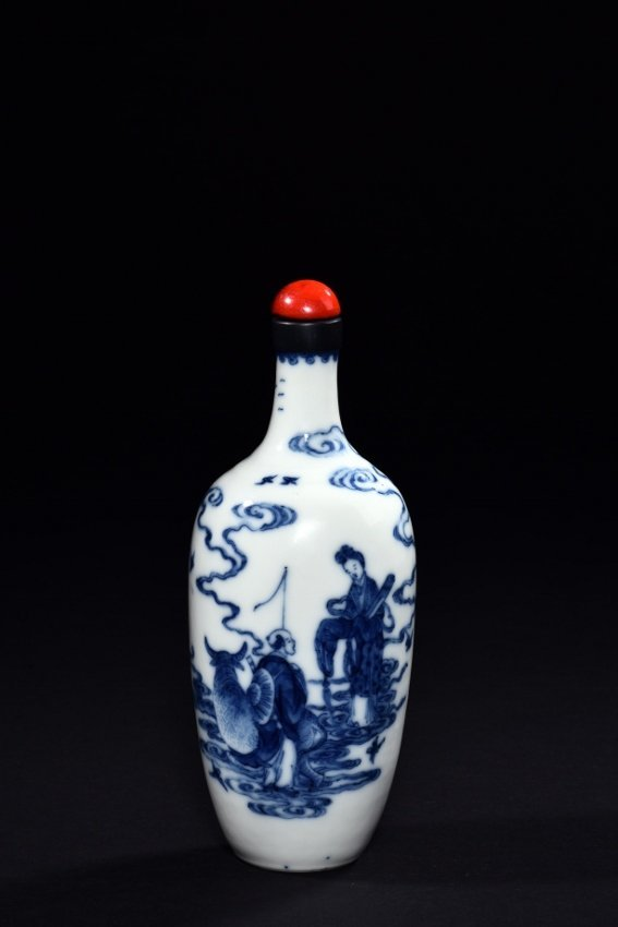A BLUE AND WHITE 'NIULANG AND ZHINU' VASE