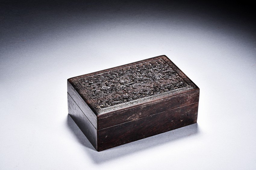 A ZITAN CARVED DRAGON BOX
